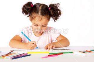 stock photo 14310917 little girl painting