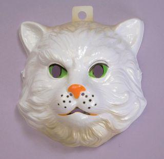 Adult Child White Kitty Cat Mask Plastic Animal Costume Accessory