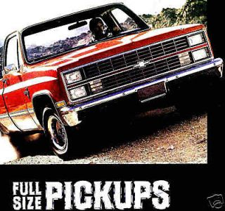 1984 CHEVY PICKUP TRUCK BROCHURE  C10 K10 4X4 C20 HD K20 4X4 C30 K30