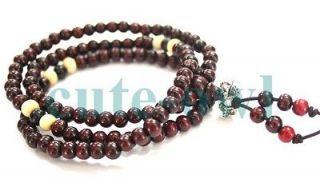 108 red wood 6mm Bead Tibet Buddhist Prayer Mala Necklace AAA cheap