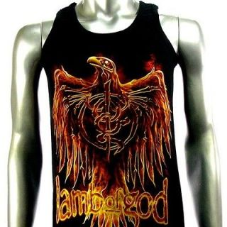 Sz M Lamb Of God T Shirt Tank Top Vest Biker Rider Rock Men V6