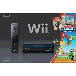 Nintendo Wii Black Console with New Super Mario Brothers Wii and Music
