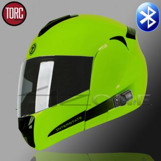 TORC T22 BLUETOOTH FULL FACE HELMET MODUALR FLIP UP DUAL VISOR LIME