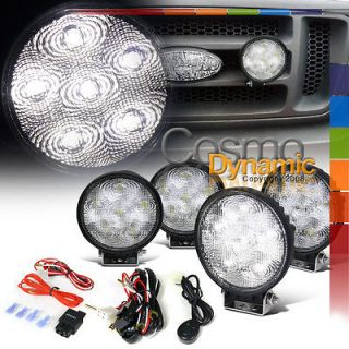 4X FLOOD BEAM 4.5 ROUND 6PC BRIGHT WHITE LED SUV WORK LIGHTS FOG
