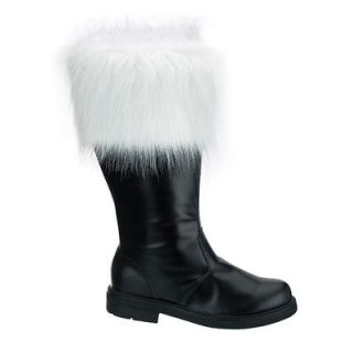 NEW Mens Santa Clause Claus BLACK Costume BOOTS with Fur 8 9 10 11 12