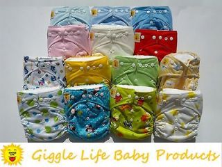 12x Giggle Life Ultra Soft Cloth Diapers & 24x Inserts One Size 8
