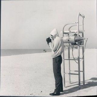 Newly listed circa 1960 Lifeguard Chair Beach Gloves Sweatshirt Sand