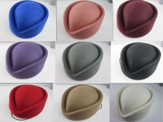 Wool Stewardess Air Hostesses Pillbox Hat Millinery TearDrop