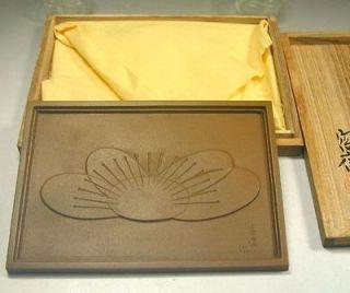 Bronze Art 153 Signed Plum Blossom Flower Deco Decor Sm Tray Tile