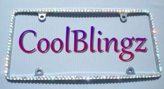 crystal ab bling rhinestone license plate frame thin time left