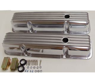 BLOCK CHEVY FINNED TALL POLISHED ALUMINUM VALVE COVERS w/ holes 283