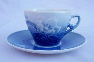 Copenhagen Porcelain Cobalt Blue & White Demitasse Cup & Saucer