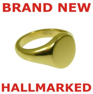 new oval pinky signet ring hallmarked 9k solid gold from