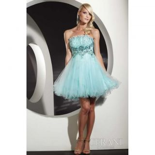 TERANI COUTURE P200 AQUA BLUE COCKTAIL DRESS PROM PARTY STUNNING CHIC