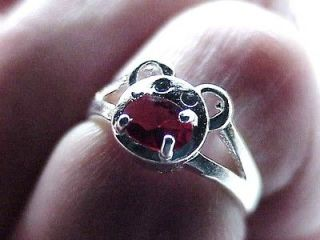 marked 925 silver Ruby Garnet color cz stone Mickey Mouse face Band