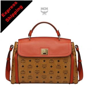 NEW Genuine MCM Visetos Leather Orange Medium Shoulder Bag For WOMEN
