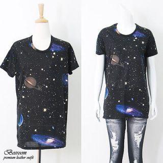 RARE BR NEW Women Galaxy space print graphic t shirt long rock punk