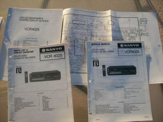 original sanyo service manual vcr4025 beta vcr lot 354 time