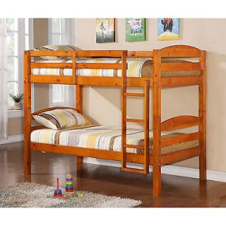 Kids Twin SOLID Wood Bunk Bed with Honey Stain, Durable, can be