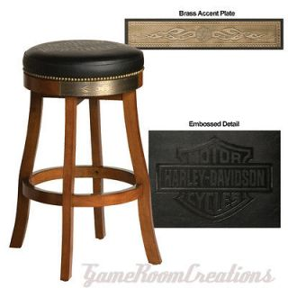 HARLEY DAVIDSON Bar & Shield Flames Heritage Brown Bar Stool HDL 13120