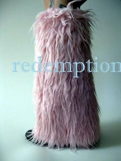 monster faux pink fur yeti boot covers cyber anime