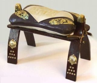 Newly listed Wood & Cowhide Leather Camel Saddle Foot Stool Seat