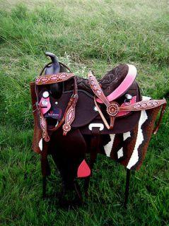 Cordura Trail Barrel Pleasure Horse SADDLE SET TACK Brown 15 403