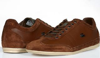 Lacoste Shoes Mens Lace Up Sneakers Misano 19 Brown Leather Suede NEW