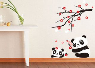 Two Lovely Baby Panda Wall Sticker Home Decor Panda and Cherry