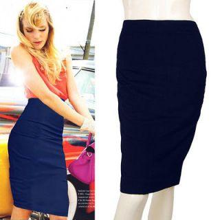 Navy Blue Vtg Retro 50s Rockabilly High Waist Wiggle Pencil Skirt M