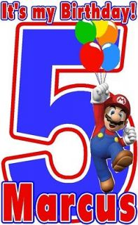 SUPER MARIO ITS MY BIRDAY T SHIRT DESIGN DECAL NEW PERSONALIZED
