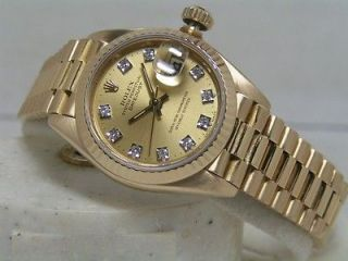 Rolex Lady President Box Papers Champagne Diamond Dial Factory