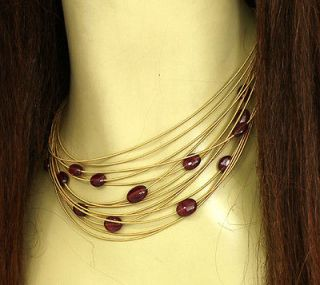 MARCO BICEGO 18K GOLD & RUBY BEADS 14 ROWS LADIES NECKLACE