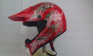 Red Silver MX Motocross Quad ATV Enduro Dirt Bike Dune Buggy DOT