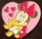 Minnie Mouse in Heart hugging Teddy Bear Disney Trading Pin
