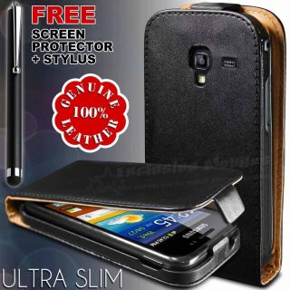 REAL GENUINE LEATHER FLIP CASE & SCREEN GUARD FITS SAMSUNG GALAXY ACE