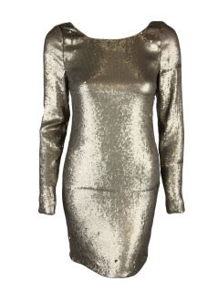 Haute Hippie Womens Sequin Scoop Back Long Sleeve Dress $840 New