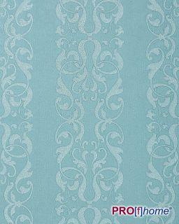 Edem 829 27 Baroque Damask Wallpaper Stripes Teal Blue Pearl Effect 75