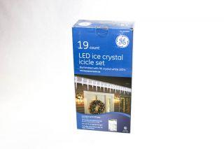 NEW GE 19 Count LED Ice Crystal Icicle Lights Set 9ft. Long Christmas