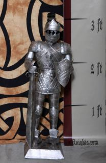Foot Silver Suit of Armor Medieval Knight in Long Sword & Shield