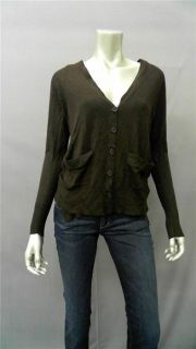 360 Cashmere Misses Cardigan Sweater Sz XS Brown Solid Auth Designer