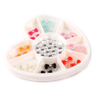 Colors 3D Nail Art Bows Rhinestone Decoration B05