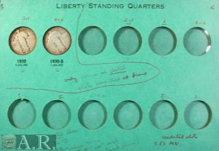 Old Time Meghrig Standing Liberty Quarter Album, 14 Coins w/1927 S
