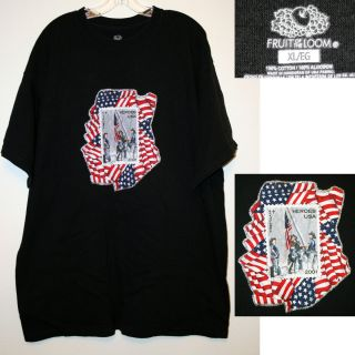 4th of July Patriotic American Flag Ground Zero W Firemen T Shirt Size