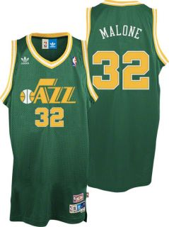 Karl Malone Jersey Adidas Green Throwback Swingman 32 Utah Jazz Jersey