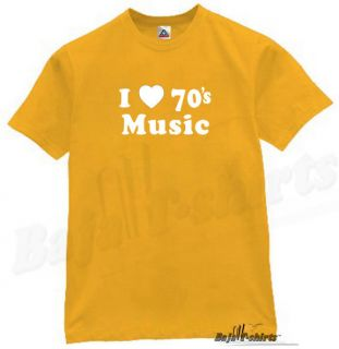 Love 70s Music T Shirt Funny Retro Tee  DJ Gold L