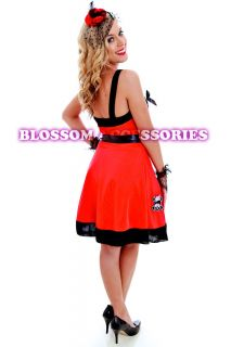 G17 Ladies 50s Red Retro Swing Pin Up Vintage Rockabilly Fancy Dress