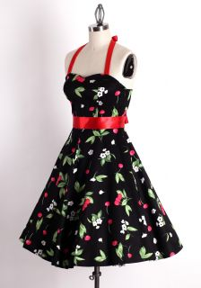 40s 50s Plussize 3X Vintage Pinup Rockabilly Retro Cherry Floral Swing