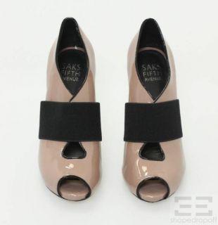 Tan Patent Leather Peep Toe Heels Size 6