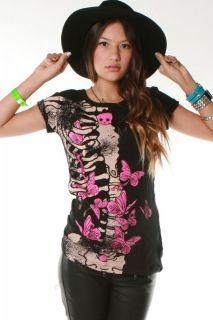 Abbey Dawn Avril Lavigne Ellie Skellie Skull Tee T Shirt